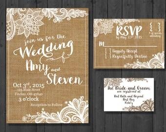 Rustic Vintage CUSTOM Wedding Invitation Set DIGITAL DOWNLOAD