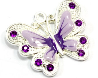Purple Butterfly Pendant (1) Purple Enamel Butterfly Jewelry. Large Purple Insect Pendant for Necklaces. Silver Butterfly Charm 35mm x 27mm