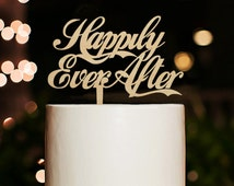Happily Ever After Cake Topper,Wedding Cake Topper,Phrase Cake Topper,Custom Cake Topper,Rustic Wood Wedding Cake Topper
