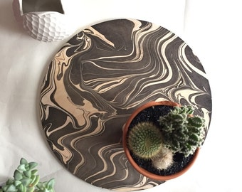 wood trivet / plant plate / large coaster / marbled wood / display tray/ centerpiece / black and white coaster / housewarming gift