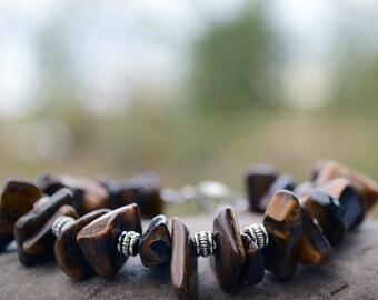Tigereye bracelet, Tigereye stone chips, Tigereye jewelry, Beaded tigereye bracelet, Tigereye bijoux, Tigereye, Buy one get one free.