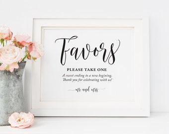 Printable Wedding favors sign, Wedding Table favors Sign, Wedding favor sign, wedding table decor, Wedding signs, Instant download