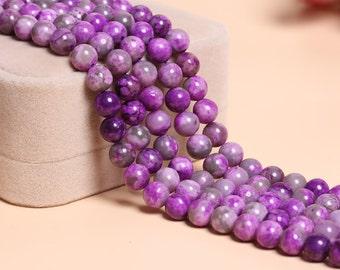 Imitation Charoite Beads Supplies, Full Strand 6 8 10 12mm Round Charoite Gemstone Beads for DIY Jewelry Making