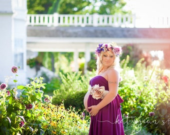 "The ""Vino"" Plum Maternity Dress"