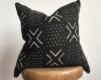 Authentic African Mudcloth Pillow in black