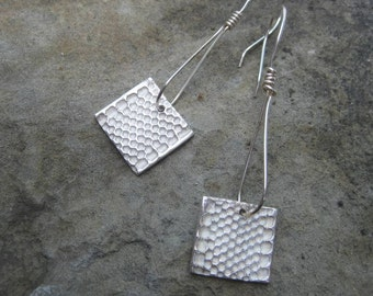 Sterling Silver & Fine Silver Honeycomb Earrings, Drop Earrings, Organic-Inspired Earrings, Bridal/Bridesmaids gifts