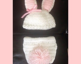 Newborn Baby Bunny Hat and Diaper Cover