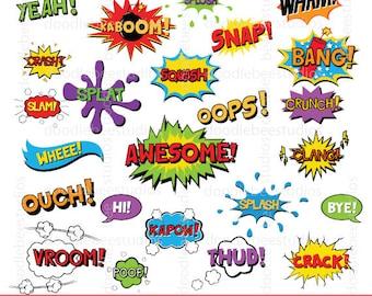 Comic Book Clipart, Superhero Text Clipart, Comic Text Clip Art, Digital Words, Digital Comic Text, Superhero Clip Art, Comic Book Clip Art