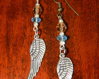 Crystal and Feather Earrings