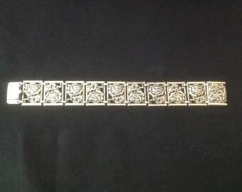 STERLING SILVER Panel Rose Bracelet...Circa 1950...BEAUTIFUL!