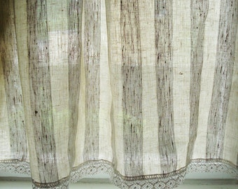 White Linen curtain linen panels kitchen linen cafe curtains