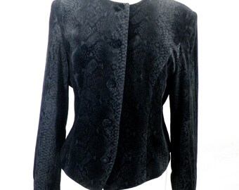 Vintage Velvet Grey & Black Snakeskin Print Ladies Jacket  Size M