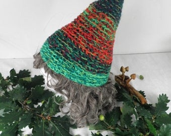 Green and Red Elf Wizard Hand Crochet Hat  Size M / L