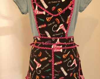 Cute Multi-Pocket, Hair Stylist Apron, Adjustable, Venders, Cooking, Hand Crafted