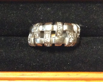 Woven sterling silver ring size 7