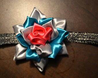 baby and kid rose headband, floral kanzashi art match souris mini