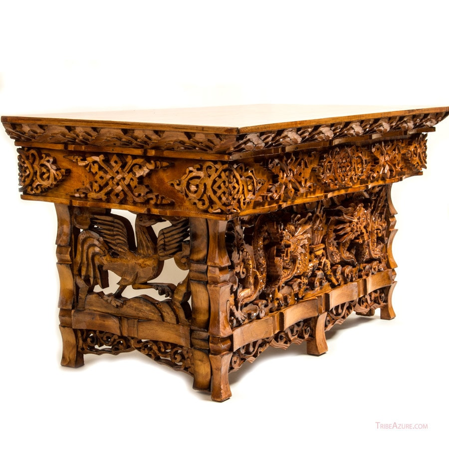 Dragon sheesham wood hand carved table by tribeazurefairtrade