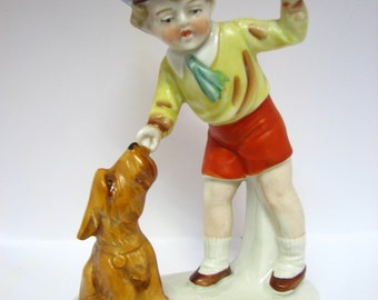 "Vintage German Porcelain ""Boy with a dog"" RARE"