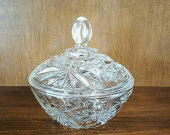 """Anchor Hocking Prescut Clear Glass Candy Dish with Lid - Star of David - 5 1/4"""""""
