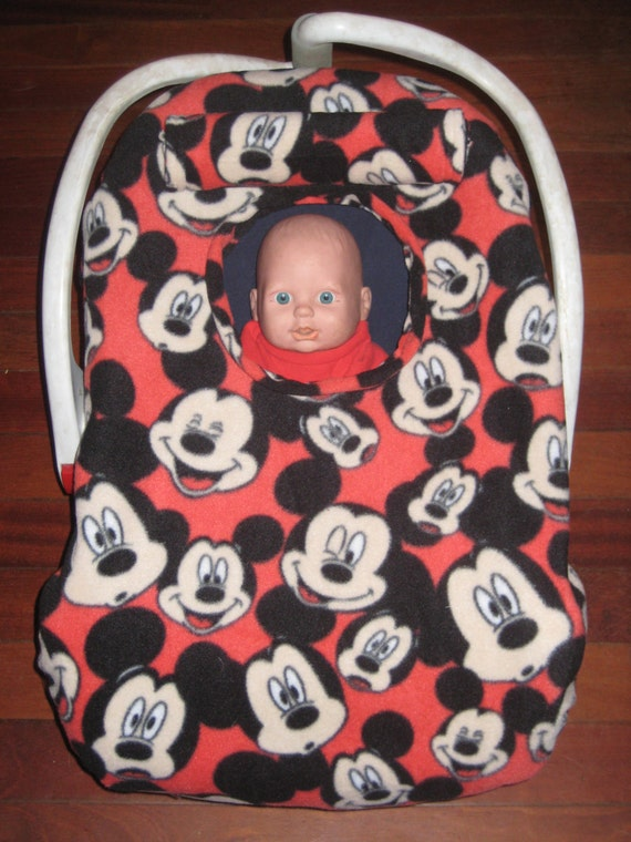 MICKEY MOUSE Fleece LINED Infant Car Seat Carrier Cover New