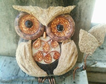 Owl Ornament / Christmas owl Ornament /Repurposed Wine Cork / Handmade Owl Ornament
