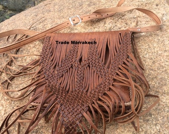 Big sale Moroccan Handcrafted Genuine Leather Fringed Bag