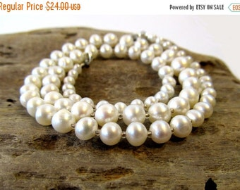 SALE, SHIPS JULY 29 Graduated Freshwater Pearl Necklace, Genuine White Pearls from Small to Large on 18 Inch Strand, June Birthstone Jewelry