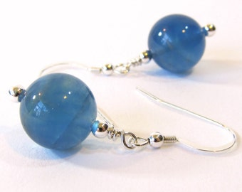 Blue Fluorite Earrings with Sterling Silver Hooks, Dangle Style Semi-Precious Stone Earrings, Handmade Natural Gemstone Jewelry