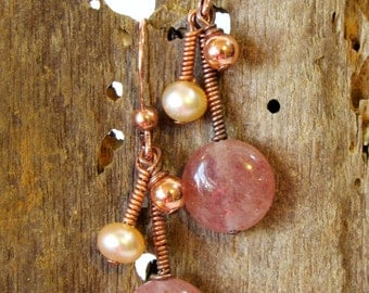 Pink Drop Earrings, Semi-Precious Stone Dangle Earrings in Copper with Freshwater Pearls, Unique Handmade Gift for Her in Warm Colors