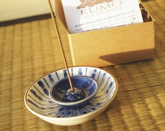 Incense Holder: Nested Blue & White Ceramics