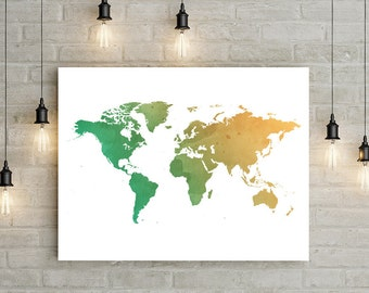 Watercolor World Map Poster Digital Art Print A4, 11x14, 24x36