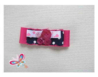 attached hair pink button and Ribbon pink/Navy
