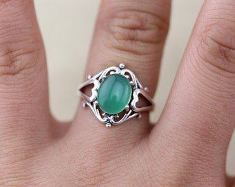 Sea Green Chalcedony Ring Christmas Gifts C305R-23B_S