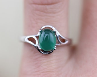Elegant Silver Green Agate Ring Christmas Gifts