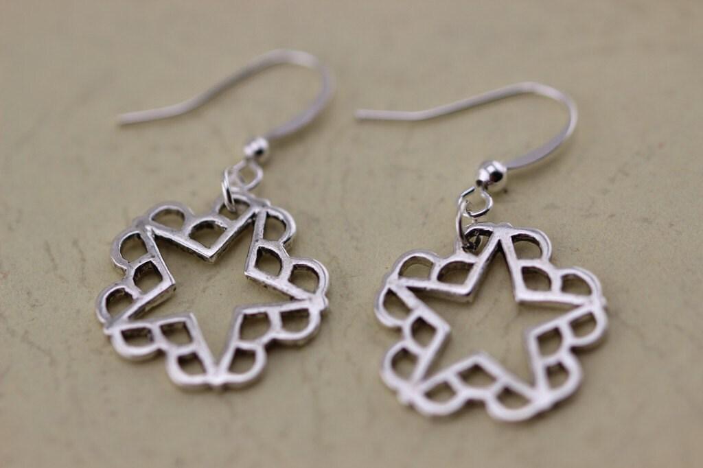 silver black veil brides earrings gifts