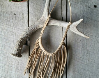 Boho leather fringe necklace