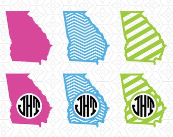 State of Georgia Monogram Frame Decals, SVG, DXF and AI Vector Files for use with Cricut or Silhouette Vinyl Cutting Machine