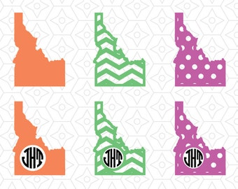 State of Idaho Monogram Frame Decal, SVG, DXF and AI Vector Files for use with Cricut or Silhouette Vinyl Cutting Machines