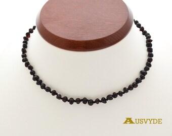Wholesale Teething amber necklaces. 5 units. Black Teething. Baroque style. Baby necklace. Teething baby. Polished. 34 cm (13,3 inch). 0833