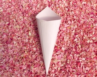 Blush Pink Confetti Cones - wedding confetti cones in a heavyweight pale pink card stock. Great for bridal showers and baby showers too!