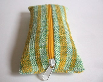Pencil hand-woven Green White hand-dyed cotton yellow, chenille, for pens, to organize the handbag for Crimea stuff, ooak