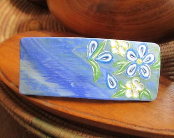 Hair barrette Blue and white Flowers  Polymer clay Handmade Unique gift.