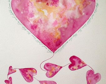 Love and Light Comes Your Way Pink Kite Watercolour Painting Perfect Gift for a Valentine's Day Watercolour Art