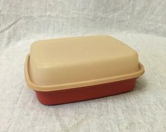 Vintage Large Paprika Tupperware Season Serve Marinator, Burnt Orange Tupperware Marinade Keeper