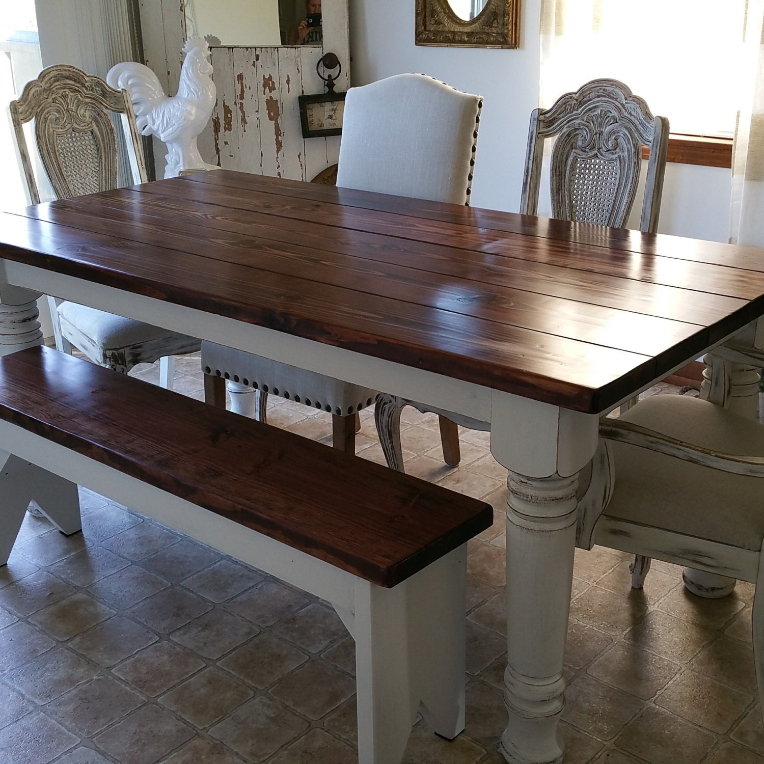 Dining Table With A Bench: Farmhouse Dining Table With Bench