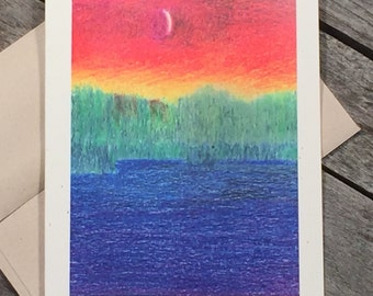 Priest Lake card - Meditation card - Sympathy card - Crayon Series - Art card - Going to the lake - Blank card