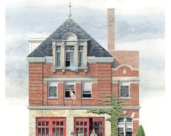 Fire Hall Card // simple elegant red doors wild garden blue curtains, Toronto architecture, Fire House, Fire Station, Community Center, Hose