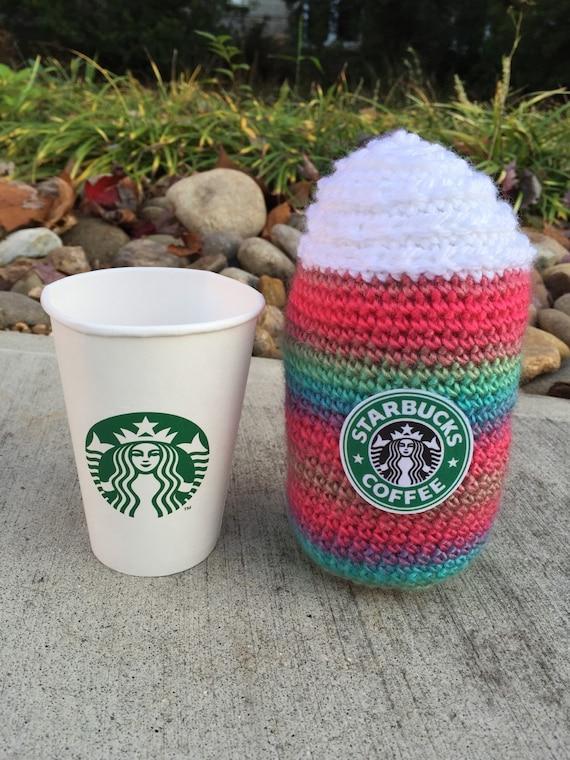 Amigurumi Starbucks : JUMBO Extra Soft Crochet Rainbow Starbucks Plush Frappaccino