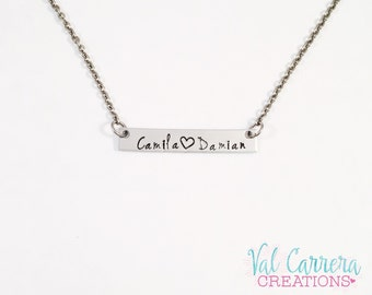 Custom Hand Stamped Name Necklace- Thin Rectangle Name Name Necklace- Name Bar