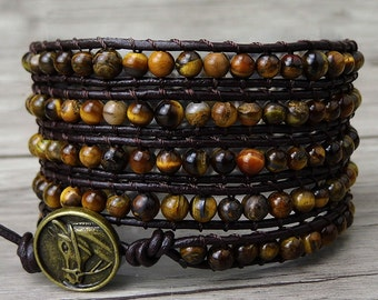 Tiger eye wrap bracelet gemstones wrap bracelet Yoga boho beaded bracelet bead leather wrap bracelet natural stone jewelry SL-0191